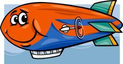 zeppelin airship cartoon illustration - stock illustration