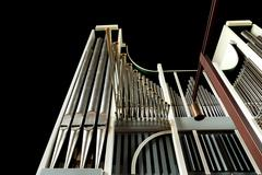 low angle view of church organ on black - stock photo