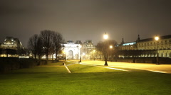 Stock Video Footage of Tuileries gardens with carrousel square in Paris