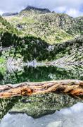 a picture from the river at pyrenees mountians - stock photo