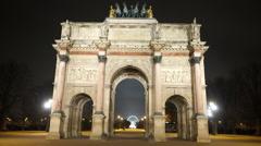 Famous monument called Arc de Triomphe du Carrousel Stock Footage