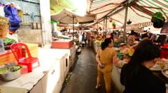 Walk Through of Busy Street Market in Pham Ngu Lao - Ho Chi Minh City (Saigon) Stock Footage