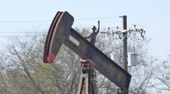 Abandoned oil jack 2 4k video Stock Footage