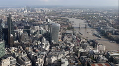 4k london city aerial helicopter flight urban skyline - stock footage