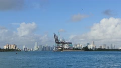 Port of miami and downtown 4k Stock Footage