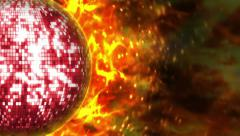 10 discoballs flames BIG small PS FR Stock Footage