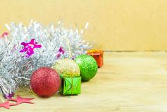Close up christmas collection on wood background Stock Photos