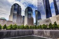 Stock Photo of world trade center memorial pool fountain waterfall skyscrapers new york ny