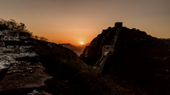 The amazing scene of Jinshanling Wild Great Wall in Beijing, China Stock Footage
