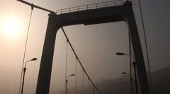 China Dalian Bridge Misty Smog Stock Footage