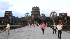 Tourists Walking at the Main Temple - Angkor Wat Temple Complex Cambodia Stock Footage