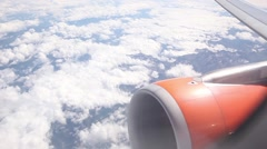 POV Airplane wing and engine from inside amazing landscape - stock footage