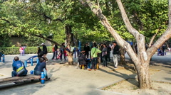 People take a rest at the Ditan Park in Beijing, China Stock Footage