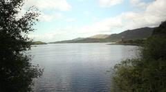 Lake with castle landscape, scotland Stock Footage
