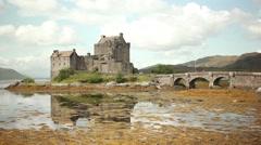Scotland Castle, Beautiful Medieval castle highlands on a lake Stock Footage