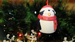 Christmas decoration bell penguin Stock Footage