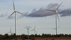 Wind Turbines Field, Energy Producing - stock footage