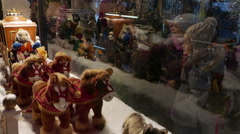 4K FHD Kids watching Christmas shopping window decoration Stock Footage