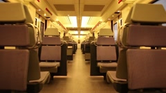 Empty moving train, high speed train empty wagon transport commuter commute Stock Footage