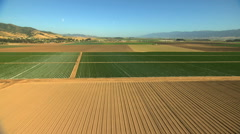 Aerial California USA Farming crops arable vegetation agricultural - stock footage