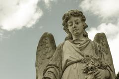 Statue of the angel who watches over the dead Stock Photos