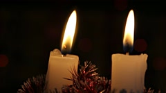 2 Christmas candels burning Stock Footage