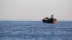 Ship at Tokyo Bay near Haneda airport, Tokyo, Japan Stock Footage