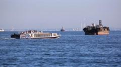 Ships at Tokyo Bay near Haneda airport, Tokyo, Japan Stock Footage
