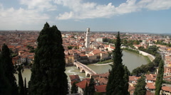 Verona and Adige River, Italy Stock Footage