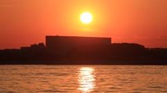 Tokyo Bay near Haneda airport at sunset, Tokyo, Japan Stock Footage