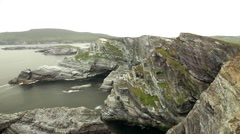 Beautiful wild landscape cliffs with rough sea Stock Footage