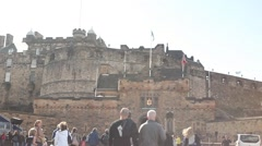 Edinburgh castle and tourist visiting on vacations Stock Footage