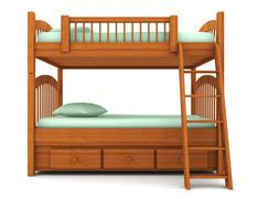 bunk bed isolated on white background with clipping path - stock illustration