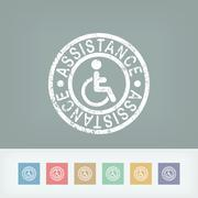 Handicap assistance stamp icon Stock Illustration