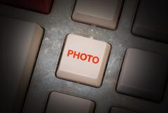 White button on a dirty old panel Stock Photos