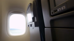 Using USB flash drive with seat monitor in plane Stock Footage