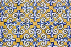 Ceramic tile decorated by hand with a texture from the floral pattern Stock Photos