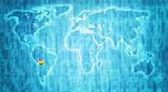 bolivia territory on world map - stock illustration