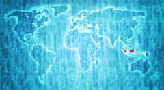indonesia territory on world map - stock illustration
