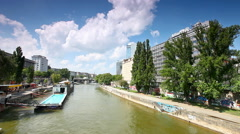 Danube Canal in Vienna with the Badeschiff Stock Footage