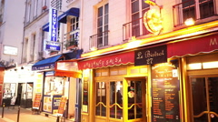 Colorful Latin quarter in Paris Stock Footage