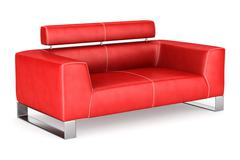 modern red leather couch isolated on white background - stock illustration