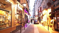 Colorful Latin quarter in Paris in the evening Stock Footage