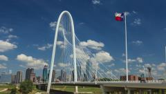 4k native UHD Dallas Skyline time-lapse w/ Margaret Hunt HIll Bridge &Texas flag Stock Footage