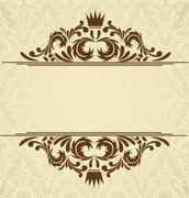 background with damask pattern - stock illustration