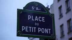 Stock Video Footage of Street sign in Paris Place du Petit Pont