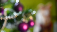 Green Christmas tree and rocking horse toy Stock Footage
