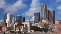4K Native UHD Dallas Skyline time-lapse w/ nice cloud movement against blue sky Stock Footage