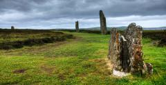 4K UltraHD The Ring of Brodgar in Orkney, Scotland Stock Footage