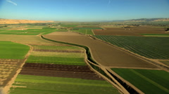 Aerial California USA arable Farming crops field vegetation agricultural - stock footage